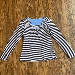 Boden navy and white striped long sleeve shirt